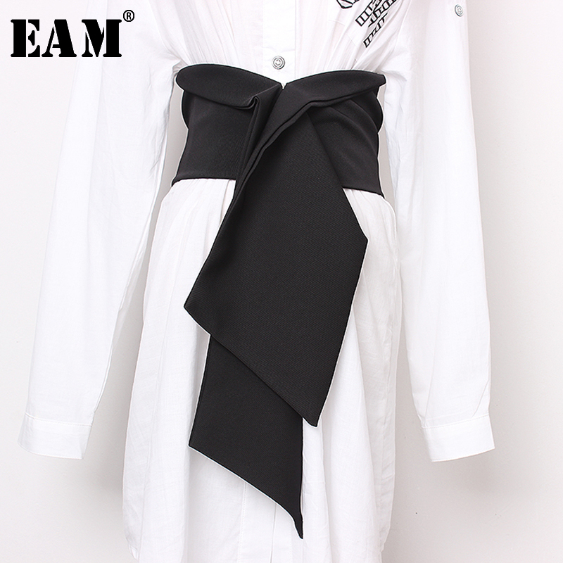 [EAM]  Black Split Joint Big Size Bow Elastic Belt Personality Women New Fashion Tide All-match Spring Autumn 2020 JS634