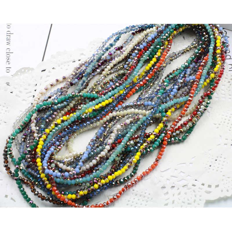 Stenya 4*3 Mm 135 Buah Warna Plating Manik-manik Kristal Rondelle Segi Busur Simpul Headband Jahit Anting-Anting Konektor DIY temuan Perhiasan