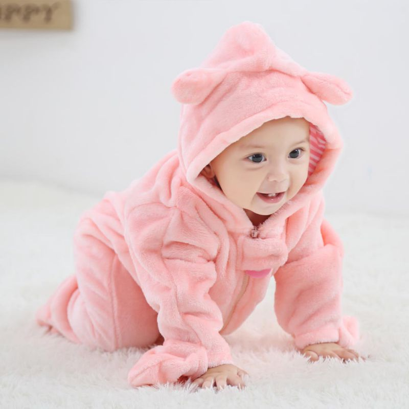 Newborn Cute Baby Boy Girl Clothes Infant Baby Autumn Winter High Quality Soft Cute Bear Long Sleeve Rompers Kids Clothes 0-2Y