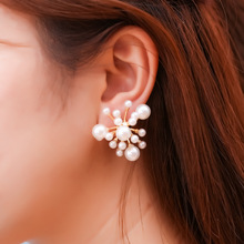 charm  stud korean earrings jewelry for women pearl silver star christmas