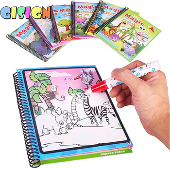 1PCS Magic Water Drawing Book Montessori Coloring Book Doodle & Magic Pen Painting Drawing Board For Kids Toys  Birthday Gift magic water drawing book coloring book doodle with magic pen painting drawing board coloring book for kids toys toy no box