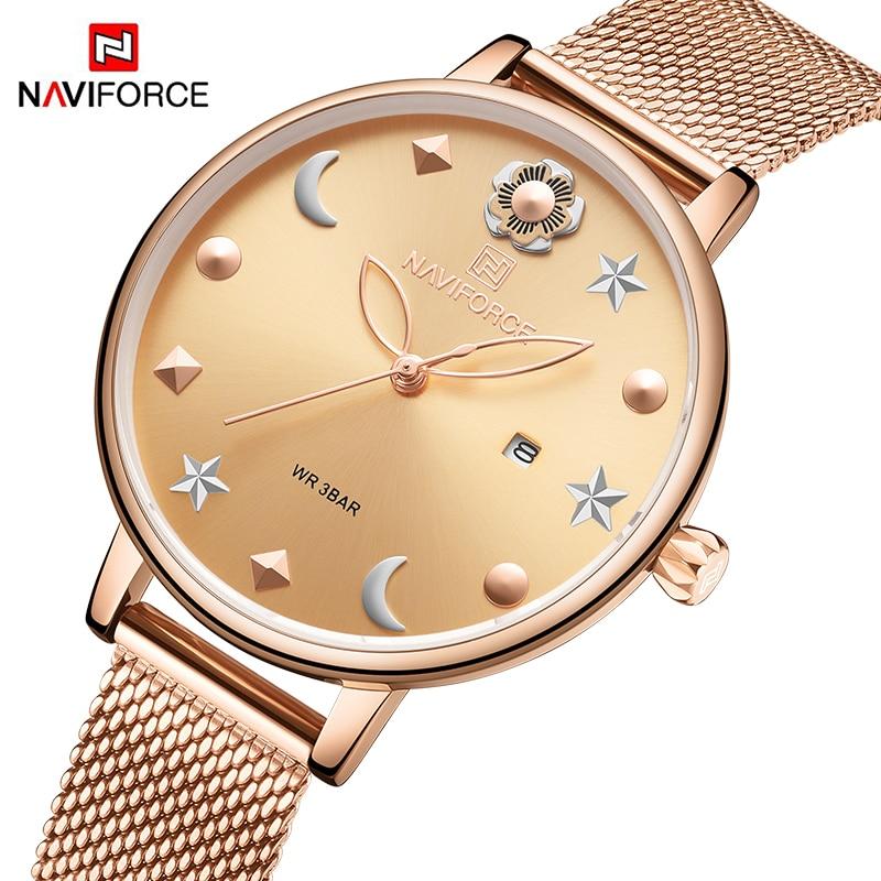 Top NAVIFORCE Women Watch Brand Watches Luxury Quartz Waterproof Wristwatch Ladies Girls Fashion Simple Clock relogios feminino|Women's Watches| |  -