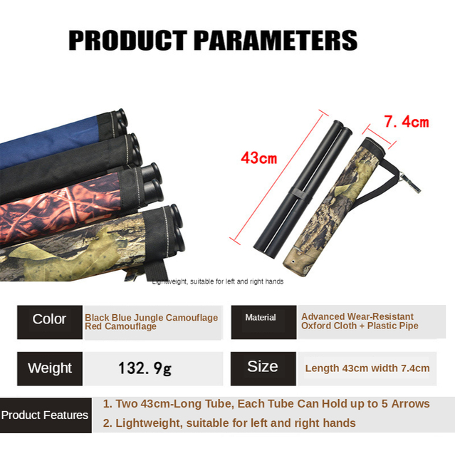 Bow and arrow Archery 2 Tube Quiver Oxford Cloth Waist-Span 3 Colors Hunting Arrow Quiver for Compound/Recurve Bow Hunting Bag 2