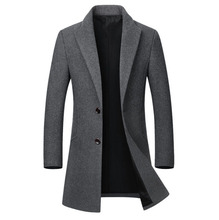 Winter Wool Jacket Men High-quality Coat casual Slim collar wool coat male long cotton trench Outwear 5XL Black