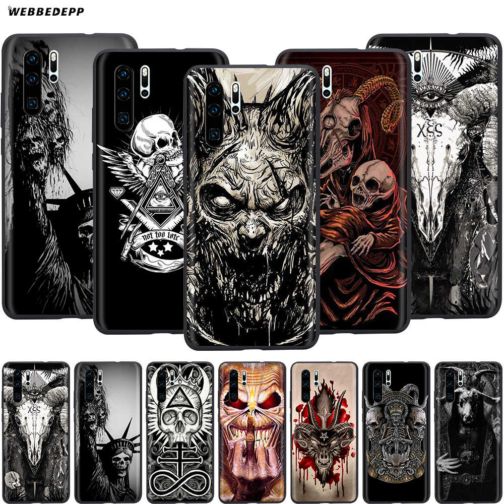 Webbedepp Satanic Scary Skull Case for Huawei Honor 6A 7A 7C 7X 8 8X 8C 9 9X 10 20 Lite Pro Note View