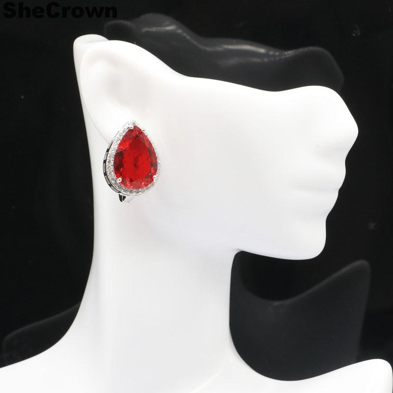 22x16mm SheCrown Water Drop 18x13mm Created Red Blood Ruby White CZ Gift For Ladies Jewelry 925 Silver Earrings