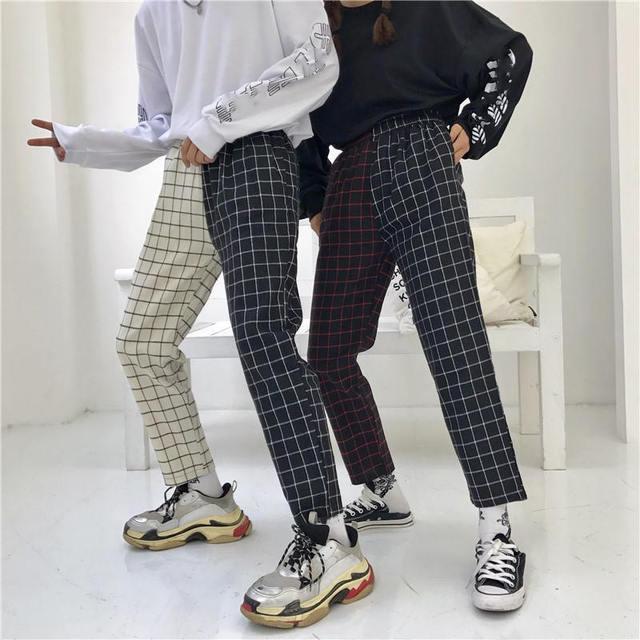 Neploe Vintage Plaid Patchwork Pants Harajuku Woman Man Trousers Elastics High Waist Pants Korean Causal Straight Checkerboard 3