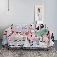 Couverture anti-poussière pour canapé multifonction, couverture créative, avec pompon, pour lit et climatisation