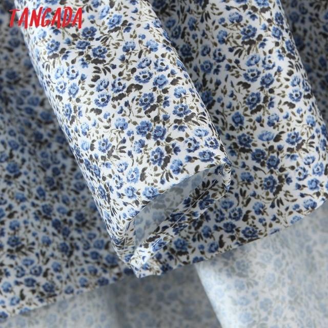 Tangada 2021 Summer Fashion Women Flowers Print Halter Dress Sleeveless Ruffles Female Casual Long Dress SL06 4