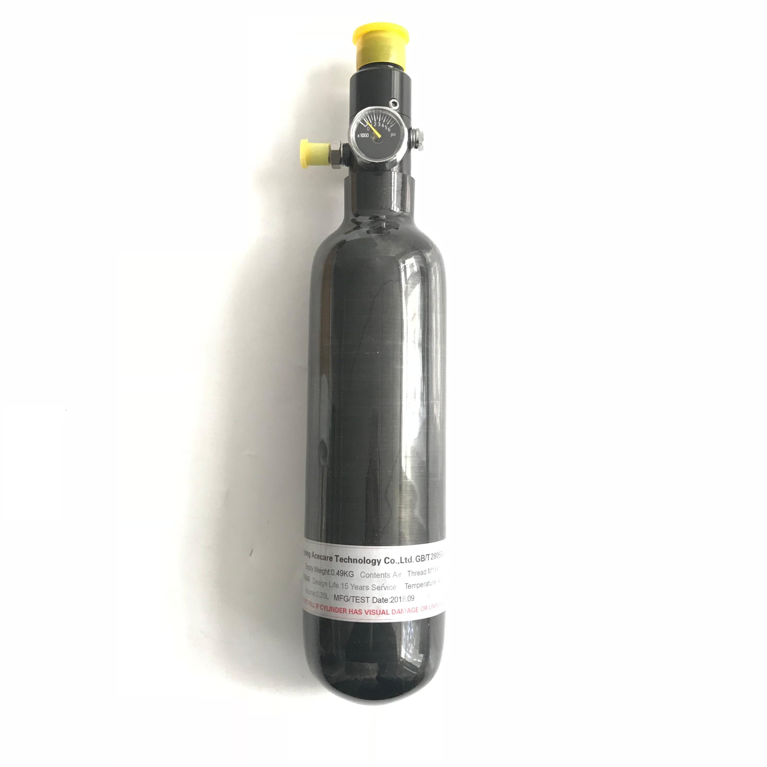 AC303561 PCP paintball airsoft réservoir haute pression 0.35L fibre de carbone enveloppé 30MPA 4500psi M18 * 1.5 fil avec un régulateur
