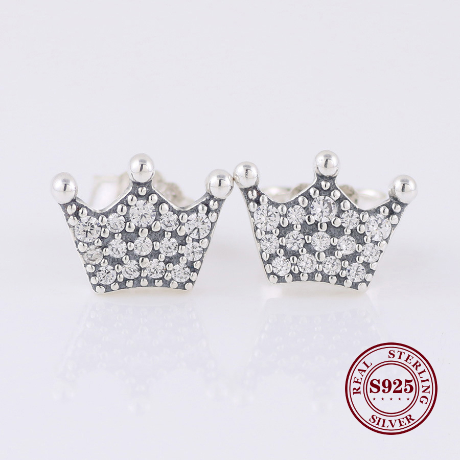 Real 925 Sterling Silver Earring Enchanted Crown With Crystal Studs Earrings For Women Wedding Gift Fashion Jewelry