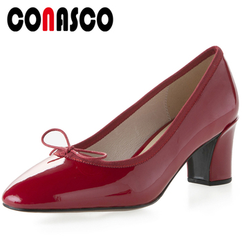 CONASCO New Concise Elegant Women Pumps Genuine Leather Butterfly Knot Cross-Tied Wedding Office Casual Thick Heels Shoes Woman
