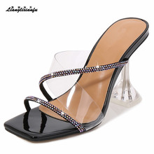 LLXF Sandals zapatos outside Slipper Open Toe 9cm thin heels Shoes woman Stiletto female transparent party rhinestone Gold pumps rhinestone decorated stiletto heels
