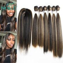 Yaki-mechones de pelo sintético liso con cierre, tejido de fibra de alta temperatura SOKU de 14-18 pulgadas, Color marrón degradado