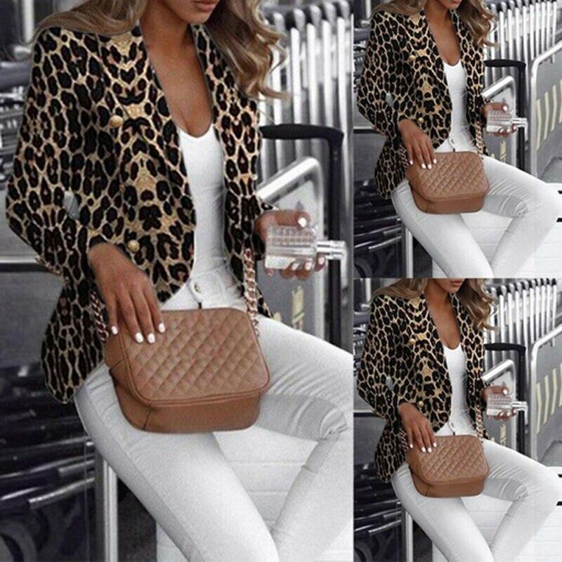 2019 Women Long Sleeve Slim Fit Blazer Leopard Suit Ladies Formal Business Coat Duster Jacket Formal Wear Ladies Elegant Suits