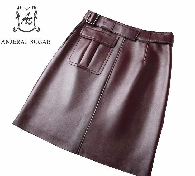 Spring Genuine leather skirts women new sexy belt High waist big pocket Package hip OL sheepskin real leather short A line skirt