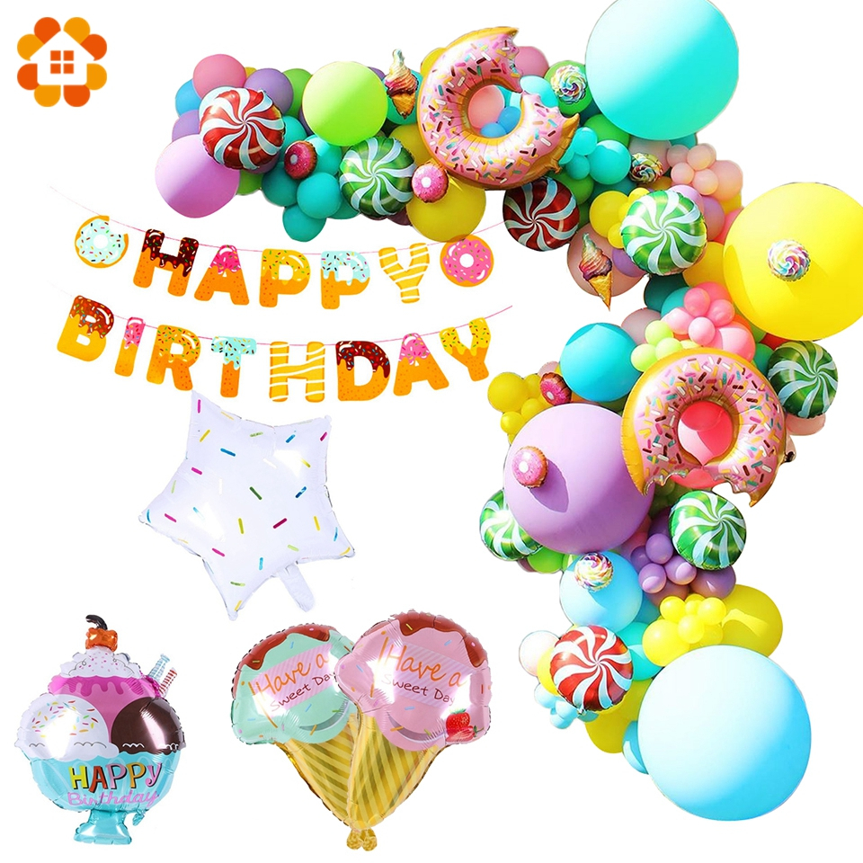 Pink Donut Candy Ice Cream Popcorn Aluminum Foil Balloon Baby Gift Happy Birthday Decoration Inflatable Helium Sweet Kid Toy