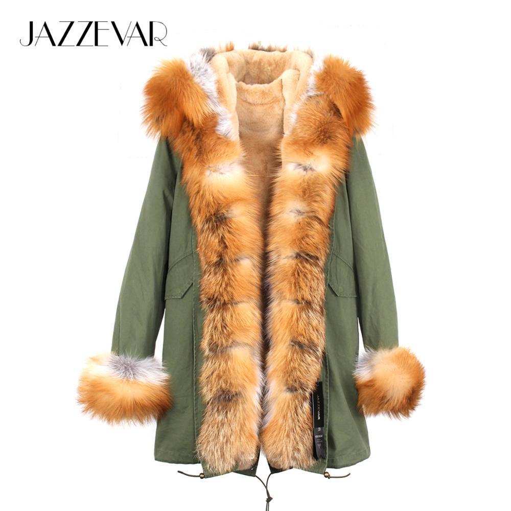 Jazzevar 2019 exército feminino verde luxo grande gola de pele de raposa manguito com capuz casaco parkas outwear camuflagem longo casaco de inverno