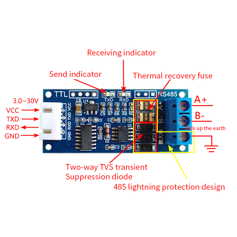 TTL To RS485 Module RS485 Mutual Conversion TTL Serial Port Hardware Automatic Flow Control Signal Microcontroller