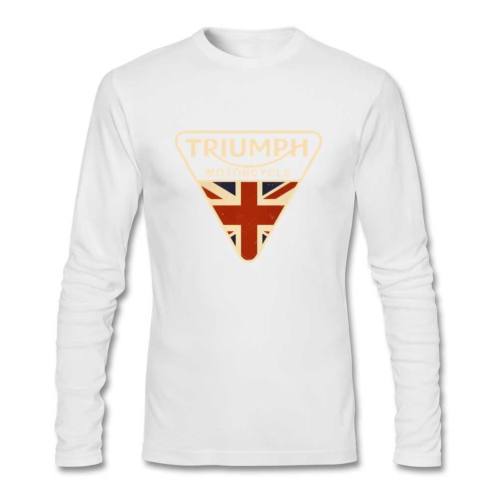 Novo estilo camisa masculina crazed union jack motocicleta t camisa reino unido bandeira masculina puro algodão o-pescoço manga longa topos para a juventude