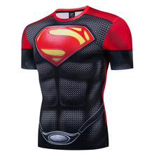 Red superman Hulk 3D Men T Shirt Sporty  Tee Captain America Superman tshirt Fitness Compression short sleeve