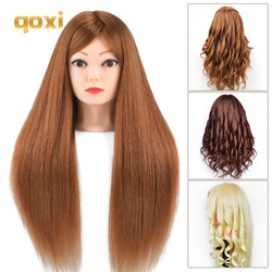 mannequin heads with 80% human hair for braiding tete de cabeza manniquin dolls dummy head for hairdresser practice hair styling