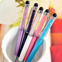 5 pcs/lot stylos à bille en cristal de diamant + stylet capacitif 2 en 1 stylo à bille tactile en métal stylos papeterie cadeau fournitures de bureau