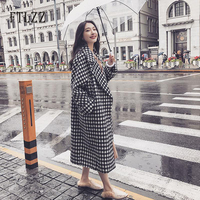 Vintage black white plaid long wool coat mujer new 2019 autumn winter fashion women turndown collar outerwear Korean ladies coat