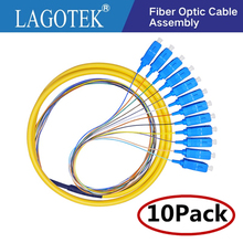 10 teile/los 12 Farben SC/UPC SM (9/125) G652D, optische Faser Zopf Bündel Schwanz Faser Zopf Kostenloser Versand
