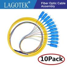 10PCS/LOT  12 Colors SC/UPC SM(9/125) G652D,  Optical Fiber Pigtail Bundle Tail Fiber Pigtail Free Shipping