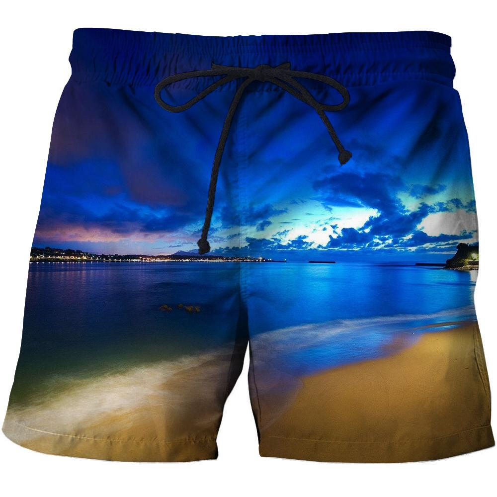 Men Beach Pants Landscape Pattern Printed Shorts Sports Series Fast Dry