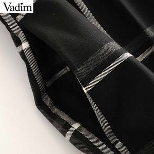 Image 4 - Vadim damskie stylowe kratki proste stylowe spodnie kieszenie w pasie kobiece dorywczo eleganckie spodnie do kostek mujer KB202