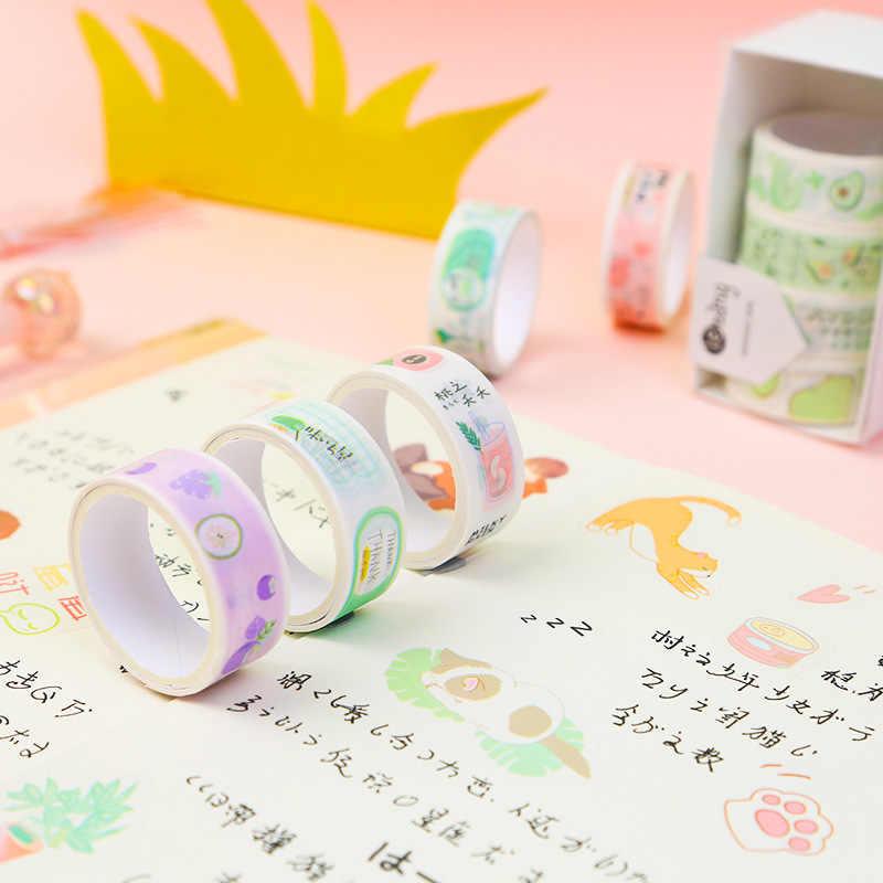 5 sztuk/zestaw Avocado dziewczyna serii śliczne zestaw taśm Washi zielony dekoracyjny taśmy klejące DIY naklejki Scrapbooking etykiety taśmy maskujące