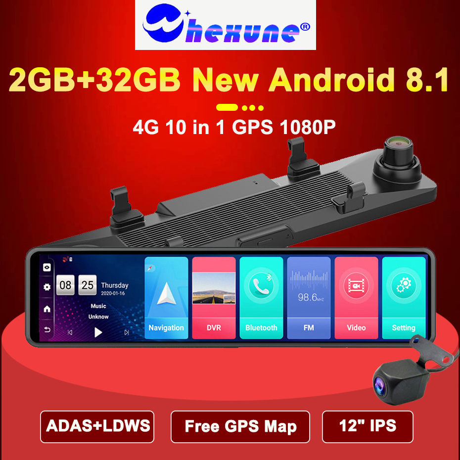 WHEXUNE 12 дюймов Автомобильный видеорегистратор зеркало заднего вида 4G Android 8,1 видеорегистратор GPS навигация ADAS Full HD 1080P Автомобильный видеорегистратор DVR|Видеорегистраторы|   | АлиЭкспресс