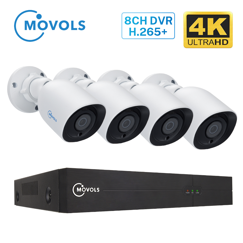 MOVOLS 8CH 4K Ultra HD Video Security Surveillance System H.265 DVR CCTV Kit  4PCS 8MP Outdoor  Waterproof CCTV Camera System