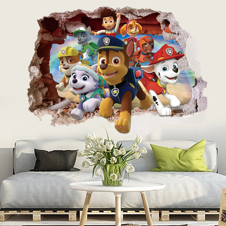 Cartoon 3D Paw Patrol Kids Removable Wall Stickers Decals Nursery Home Decor Vinyl Mural For Boys Bedroom Living Room Mural Art