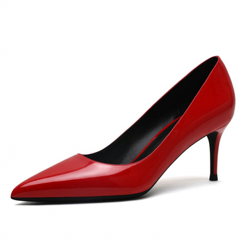 New Spring Autumn Classic Women Genuine Patent Leather Office Pumps Thin High Heels Red Nude White Work Wedding Shoes Woman B002