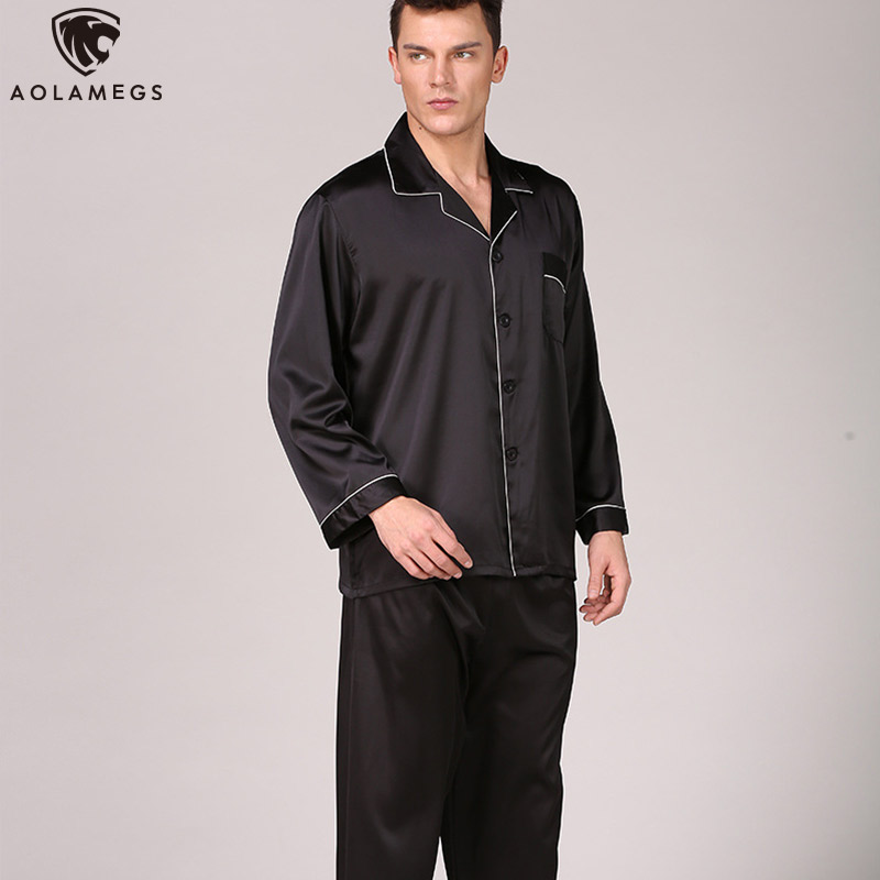 Aolamegs Men Pajamas Set Solid Color Silk Sleepwear Thin Soft  Advanced Long Sleeve Turn-down Fashion Luxury Style