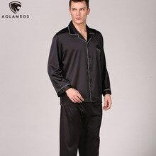 Aolamegs Men Pajamas Set Solid Color Silk Sleepwear Thin Soft  Advanced Long Sleeve Turn-down Fashion Luxury Style
