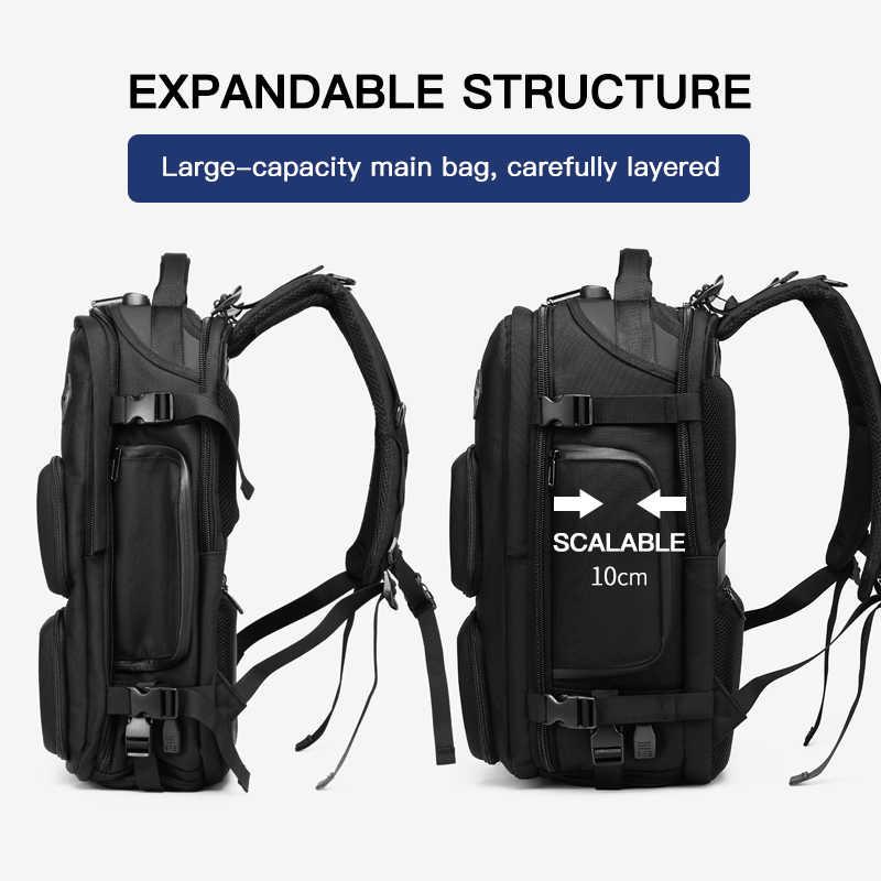 """OZUKO Anti hırsızlık sırt çantası erkek USB şarj büyük sırt çantaları 15.6 """"Laptop sırt çantası erkek su geçirmez seyahat çantası ayakkabı cebi ile yeni"""