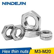 NINDEJIN 1-50pcs Thin Hex Nuts Aço Inoxidável 304 de M3 M4 M5 M6 M8 M10 M12 M14 M16 M18 DIN439 M20 porcas finas