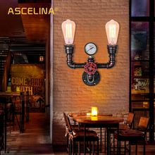 HOT Water Pipe Wall Light  Vintage Industrial Iron Rust Wall Light  Retro Aisle Lights For Loft Cafe Living Room Bedroom Bedside