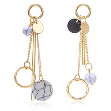 Asymmetrical Earrings For Women Round Geometric Korean Fashion Style Jewelry Gold Drop Earrings Stone Earrings Simple Gifts(China)