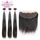 Aliballad бразильские человеческие волосы плетение прямые волосы 3 пучка с фронтальным закрытием Remy 13x4 дюймов Кружева Фронтальные с пучками - 3