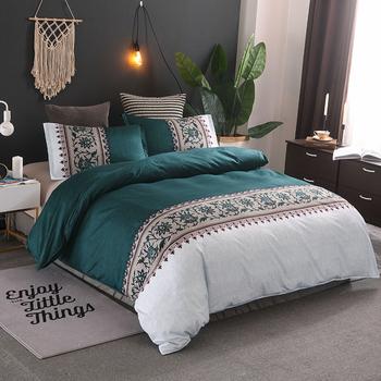 Prosty geometryczny komplet pościeli druk kwiatowy luksusowa poszewka na kołdre mikrofibra łóżko poliestrowe pościel kołdra obejmuje zestawy tanie i dobre opinie SUCSES Brak Zestawy Kołdrę Poliester bawełna 1 35 m (4 5 stóp) 1 5 m (5 stóp) 1 8 m (6 stóp) 2 0 m (6 6 stóp) Klasa a