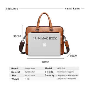 Image 2 - Celinv Koilm Men Business Bag For 133 inch Laptop Briefcase Bags Set Handbags High Quality Leather Office Bags Totes Male