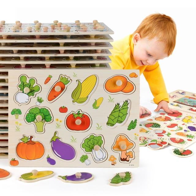 Nuovo 30cm Giocattoli Del Bambino Montessori Puzzle Di Legno A Mano Grab Educativi Puzzle di Legno per I Bambini Del Fumetto Animale Bambino Veicolo regalo 1