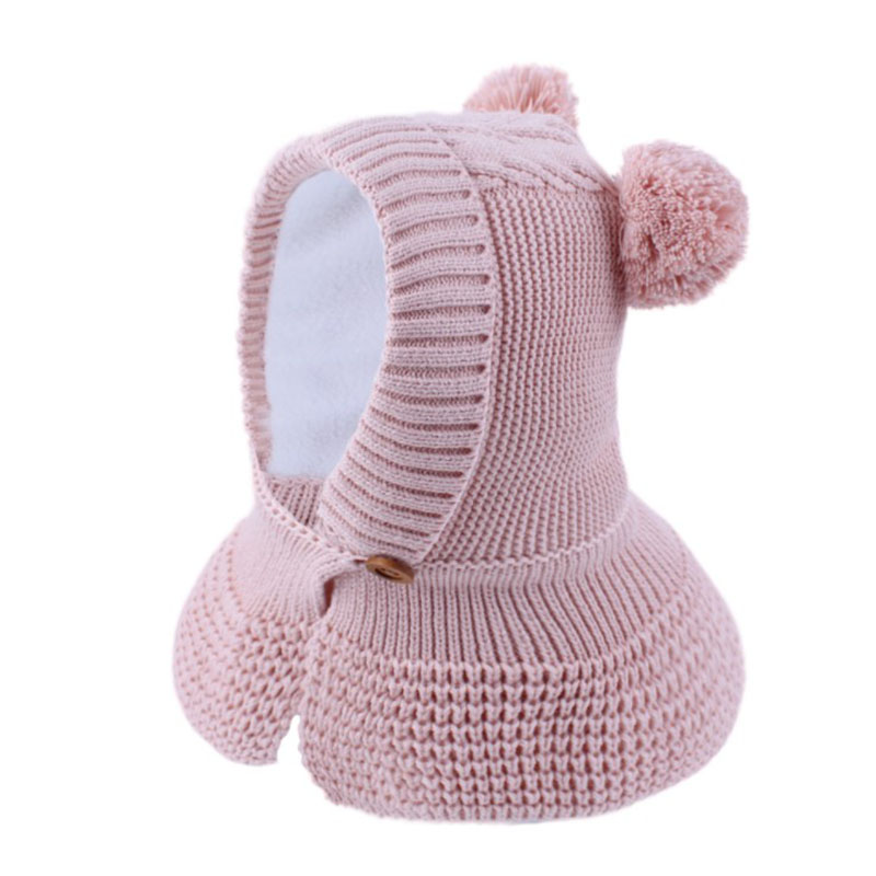 New Baby Pompom Hat with Cloak Baby Boys Girls Pink Skullies Beanies with Warm Velvet Winter 2019 Kids Soft Knit Beanie Cap Hat in Men 39 s Skullies amp Beanies from Apparel Accessories