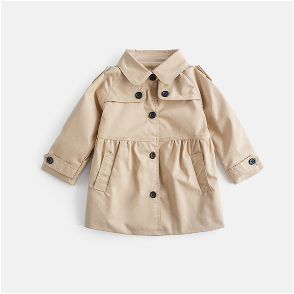 Autumn Winter Baby   Trench   Coat Long Sleeve Zip Hood   Trench   For Girls Children Windbreaker Kids Fashionable   Trench   Coat On A Girl