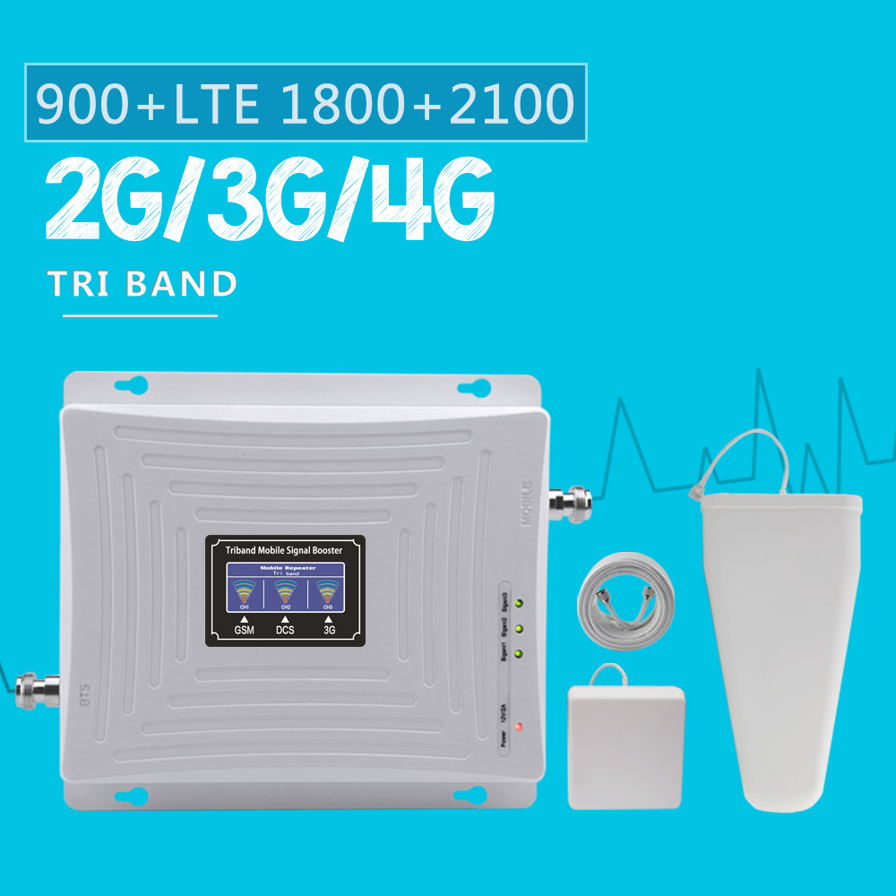 Walokcon Tri Band Cellular Booster GSM 900 DCS 1800 WCDMA 2100 MHz SIgnal Repeater 2g 3g 4g GSM Amplifier 70dB Gain 4G Buster